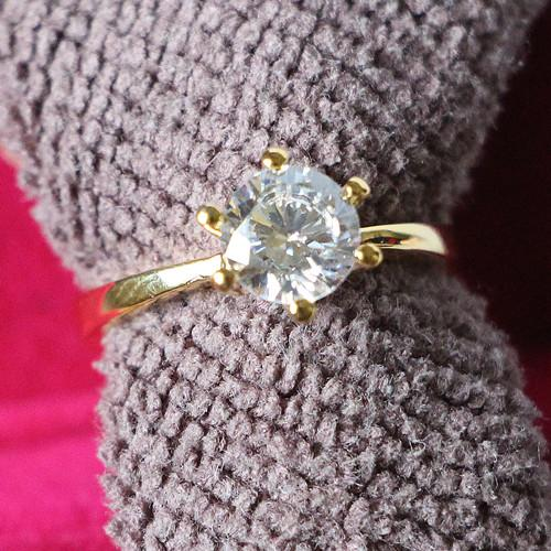 2CT Yellow Gold Color Crown Ring Solitaire Prongs Setting 925 Sterling Silver Jewelry Synthetic Diamonds Engagement Ring S925
