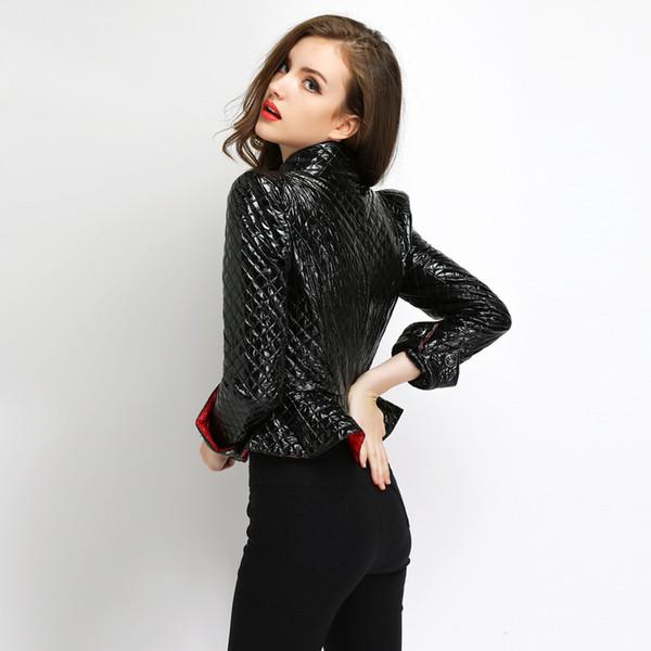 [OL] Clearance 2018 Autumn Winter New Short Slim Korea Down Winter Women's Jacket Leather Pu Coat Female coat sexy woman A702-2