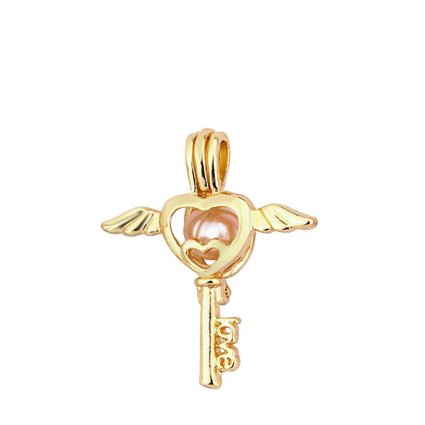 Gold Color Angle Key Cage Pendant For Pearl Love Wish Aromatherapy Essential Oil Diffuser Locket Pendant For Jewelry Making