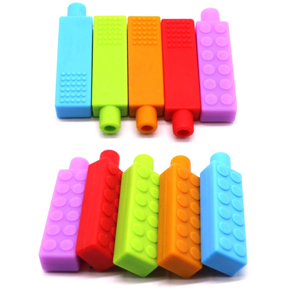 top popular Chew Brick Chewable Pencil Toppers Safe BPA Free Silicone Baby Teething Toys Block Pencil Toppers Chewy Sensory Teethers 2020