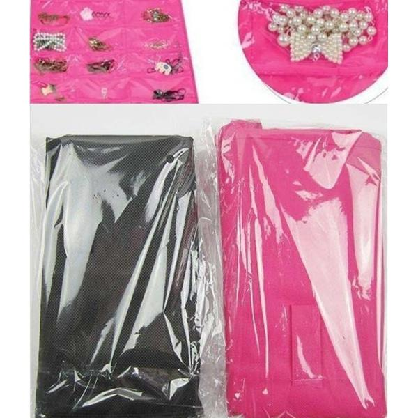 Dress Hanging Jewelry organizer Bag Hooks Jewelry Storage Black and Pink