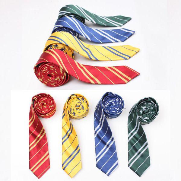 300 PCS Listrado Harry Potter Gravata Para homens gravata escola estudante Gryffindo Ravenclaw Hufflepuff Slytherin Gravata harry potter gravata.