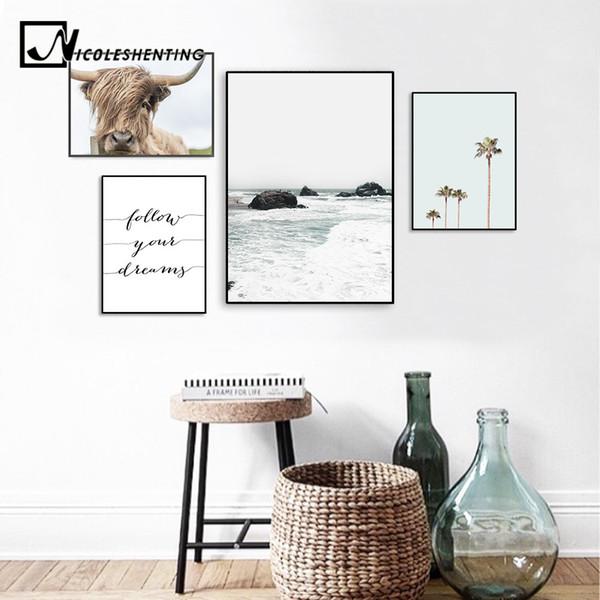 Acheter Paysage Scandinave Mer Plage Toile Affiche Vache Minimaliste Nordique Style Mur Art Imprimer Peinture Décoration Tropicale Photo De 3505 Du