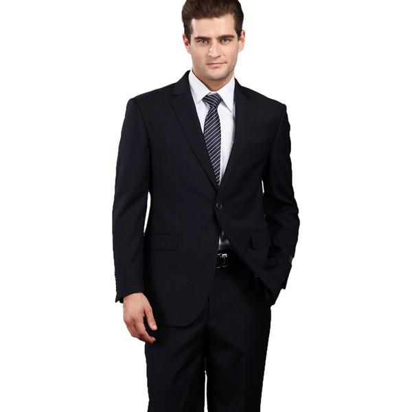 Costume formel pour les hommes 2019 Dernières Manteau et Pantalons Designs Business Blue Costumes Set Taille Plus haute qualité de travail uniforme XS-6XL