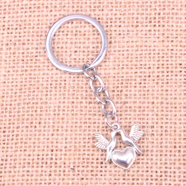 New Fashion 21*21mm kissing doves birds heart KeyChain, New Fashion Handmade Metal Keychain Party Gift