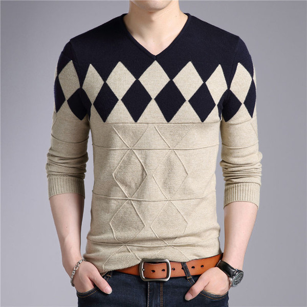top popular Wool Sweater Men 2018 Autumn Winter Slim Fit Pullovers Men Argyle Pattern V-Neck Pull Homme Christmas Sweaters 2019