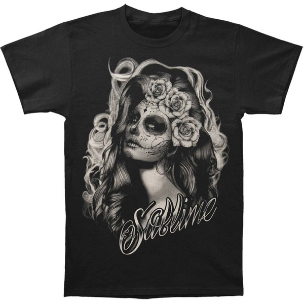 Authentic SUBLIME Band Sugar Skull Princess Slim-Fit T-Shirt S-2XL NEW