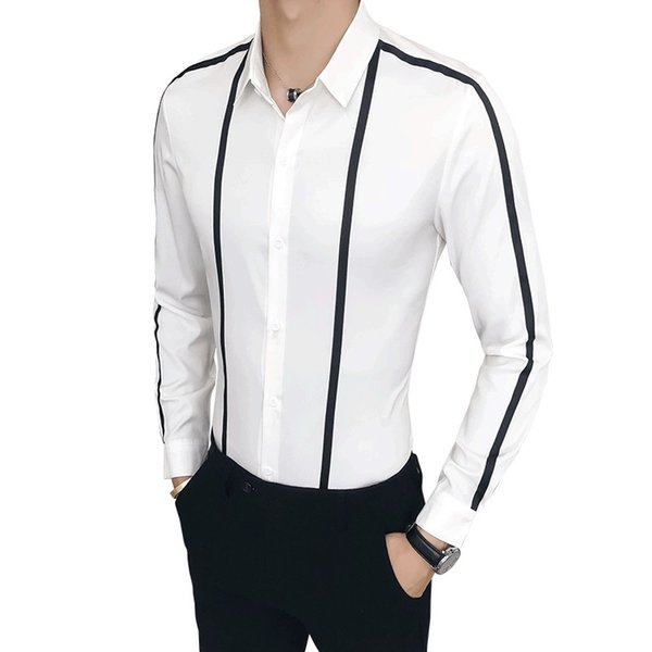 Brand New Dress Shirt Men Fashion 2018 Autumn Slim Fit Long Sleeve Social Shirts For Men Clothes Plus Size Casual Prom Shirt Man