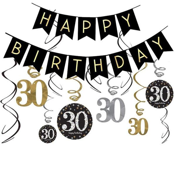 60th Birthday Decorations Kit Gold Glitter Happy Banner Sparkling Celebration 30 Hanging Swirls