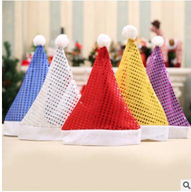 Ornamento del sombrero de la Navidad de la lentejuela 5 colores Casquillo de los adultos de Santa Claus Casquillo adulto de la plata del rojo de la plata del oro para la decoración de la Navidad