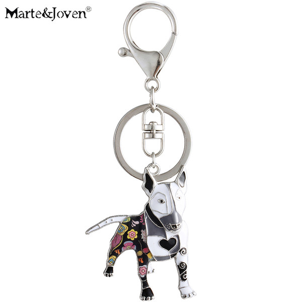 Marte&Joven Unique Bull Terrier Keychain Gift for Women Girls Dog Lover Multicolor Enamel Pets Dog Charm Keyring Jewelry