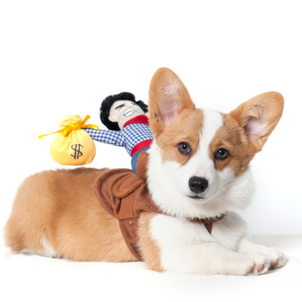 Free shipping toy Creative dog Clothes toys personality Funny Transform Cowboy knight Pet winter clothes