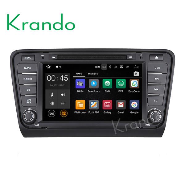 krando touch screen android 7.1 8'' car dvd radio player multimedia for Skoda Octavia 2014+ audio gps navigation wifi bluetooth