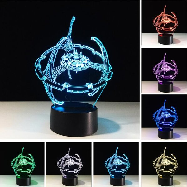 Novelty 3D Bulbing Night Light Star Trek Death Star Millennium Falcon LED 7 Color Glowing Home Office Adults Children's Birthday Holiday Gif