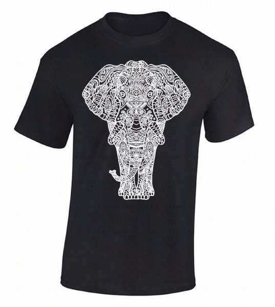 Elephant T-SHIRT Ornate Animal Lover Wild Hipster Cool Funny Africa Gift Shirt T shirt Tops Summer Cool Funny T-Shirt