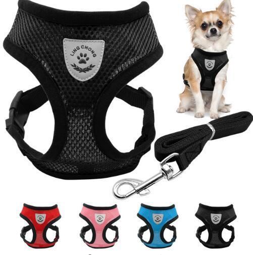 Hundegeschirr Breathable Mesh Small Dog Pet Harness und Leine Set Welpen Weste Rosa Rot Blau Schwarz Für Chihuahua Top Qualität
