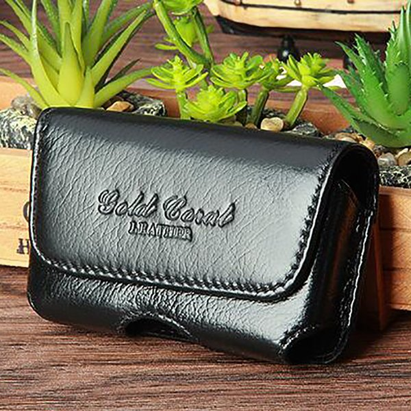 High Quality Genuine Leather Men Cell/Mobile Phone Case Cover Skin Belt Pack  Famous Male Purse Hip Bum Waist Fanny Bags