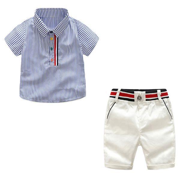 Tem Doger Little Boys trajes de verano camisas de manga corta a rayas + pantalones cortos blancos 2 piezas traje de ropa de caballero Y1893004