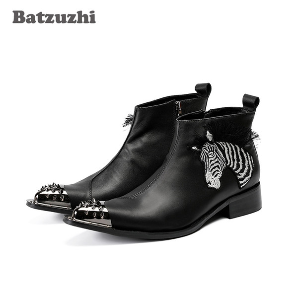 Botas Militares Western Cowhilde Leather Botas Hombre Pointed Iron Tip Safety Boots Men Black Leather Ankle Fashion Party Boots for Men!