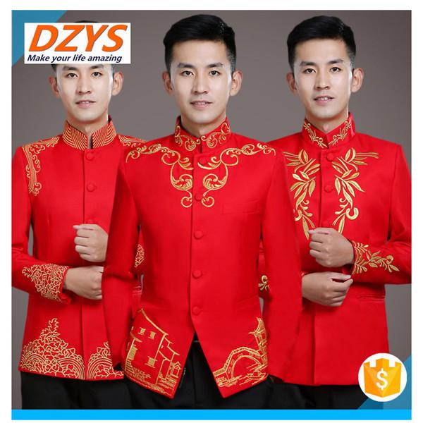 2018 DZYS-DX vermelho chinês traje brinde vestido