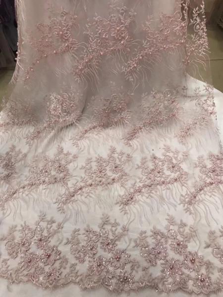 Tissu de dentelle africaine populaire perlé 2018 Tissu de dentelle africaine de tulle de haute qualité avec paillettes dentelle Net français pour les femmes robe Nouveau