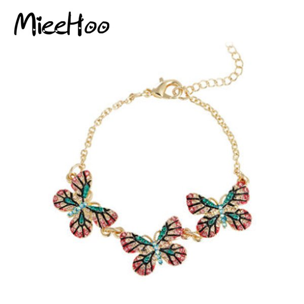 Beautiful butterfly Bracelets & Bangles best gift for girlfriend multi colorful crystal Gold plate Cute Bracelet For Girls Gift