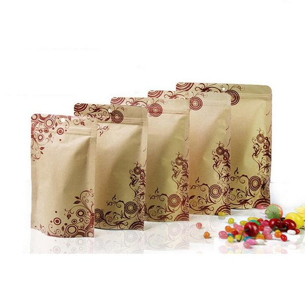 100 Pcs Stand-up Kraft Paper Food Packaging Bag with Flower Pattern Design, Pouch for Gift Food Nuts Cookie Candy Baking Tea