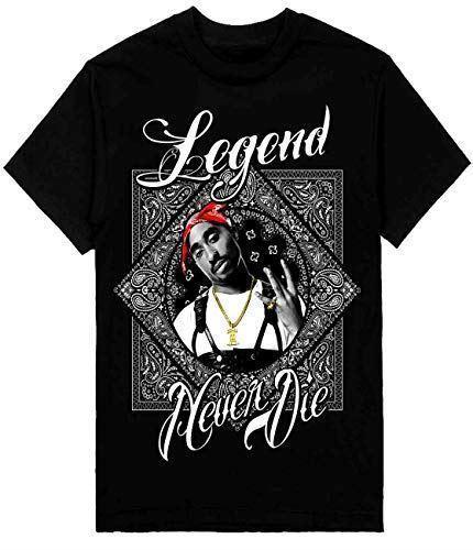 2Pac Legend Herren T-Shirt Bandana Print Gedruckt Auf Shaka Wear Schwerer T-Shirt