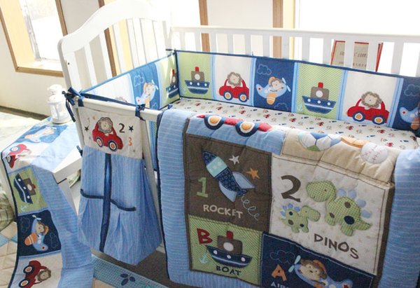 Hot Selling flyer Cot bedding set cotton Embroidery car Sea turtles letter Baby boy bedding set 5Pcs quilt bumper Bed skirt Crib bedding