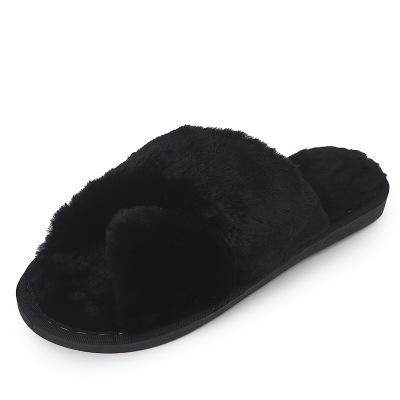 XZ026 new cotton slippers female Korean version of the open toe cross winter home warm non-slip month wool shoes