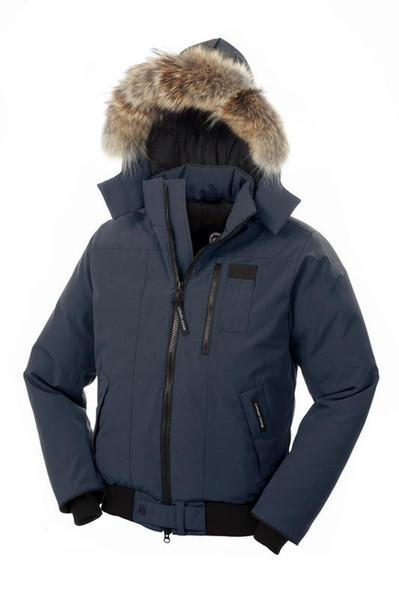 Goose Borden-Bomber Men Parka Fashion Waist Down Jacket 90% White Goose Down Breathable Warm Hooded Jacket