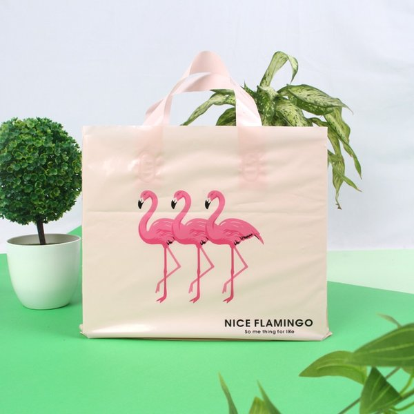 50pcs/lot Eco-friendly Flamingo Plastic Bag Party Gift Bag Clothing Shopping Bag
