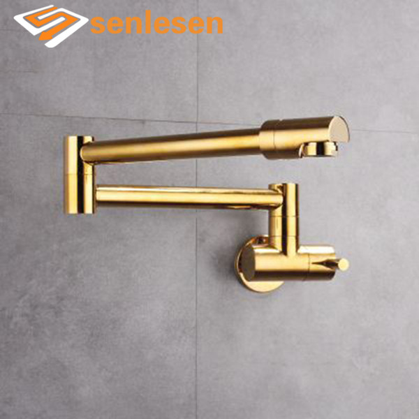 Wholesale and Retail Wall Mounted Kitchen Sink Faucet Golden Single Lever Cold or Hot Kitchen Taps