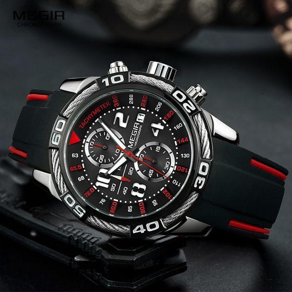 459fc412d57 Megir Analógico Chronograph Battery Quartz Watch para Homem dos homens de  Silicone Preto Bracelete Esporte Relógio