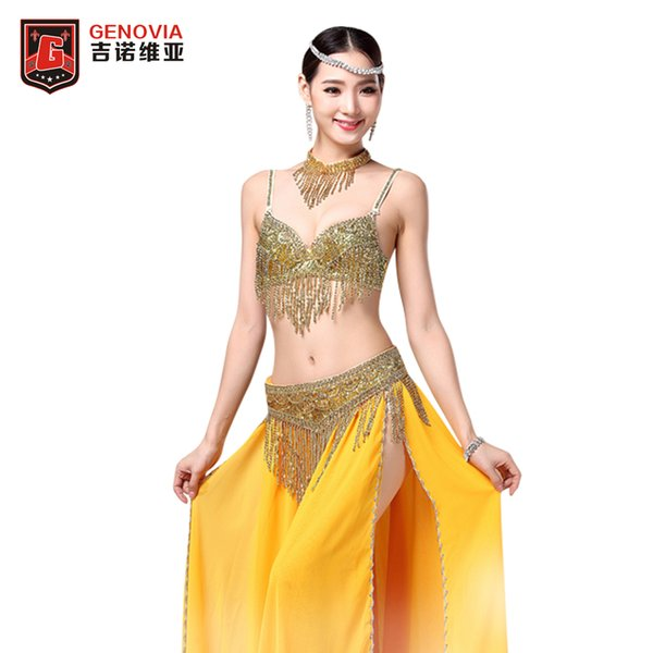 2018 Stage Performance Luxury Belly Dance 3 Pcs Costume Bra&belt≠cklace 34b/c 36b/c 38b/c Gold&silver 2 Colours