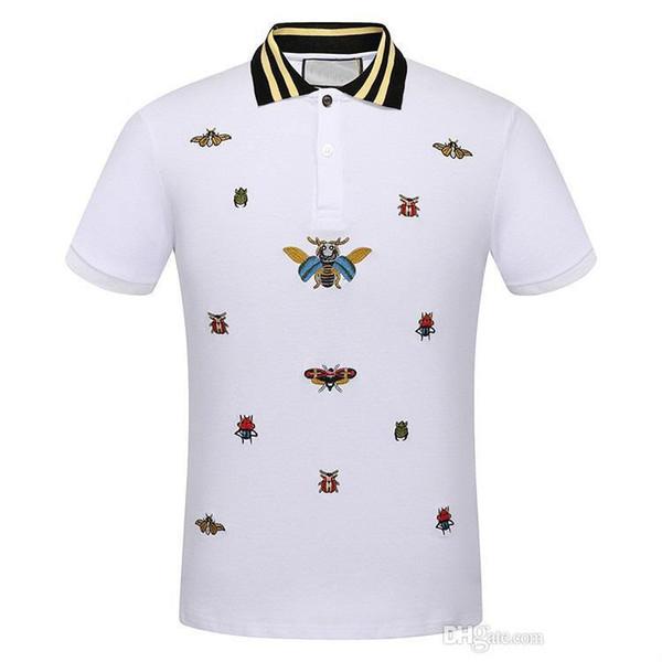 2018 uomini nuova camicia POLO Moda Mens classico risvolto T shirt di lusso ricamo in cotone di marca di alta qualità tee per gli uomini JG314