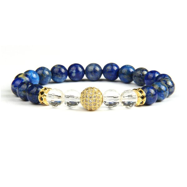 Gold Bracelets Wholesale 10pcs/lot Micro Pave Clear Cz Ball Beaded Bracelet For Men's Gift With Natural Lapis Stone Beads