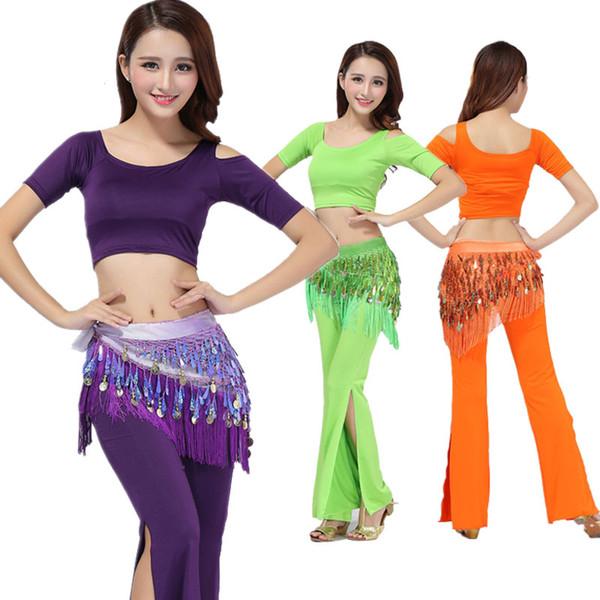 Oriental Women Belly Dance Costume Set Top+fork Pants Professional women bellydance clothes modal dance suit stage performance