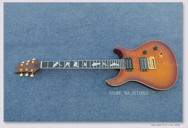 High Quality China Guitars Brown Flame Top Electric Guitar Top Musical instruments