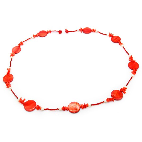 best selling 2018 Fashion jewelry natural freshwater pearl shell necklace round piece dyed shell necklace feminine charm jewelry