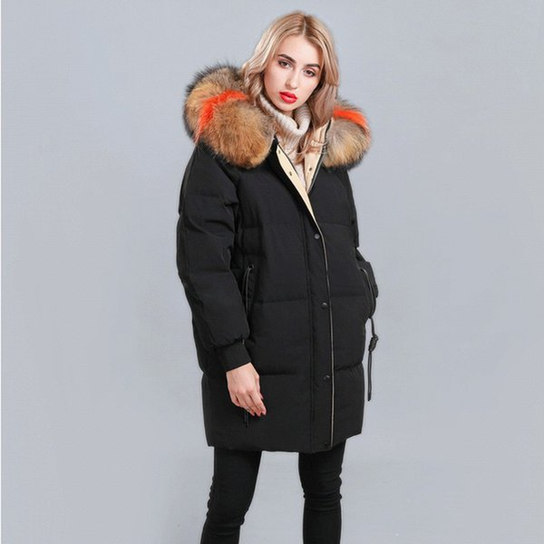 Large Real Fur 2018 Winter Jacket Women Raccoon Fur Collar Hooded Thick For Womens Jackets And Coats Winter Parka For Female S18101505
