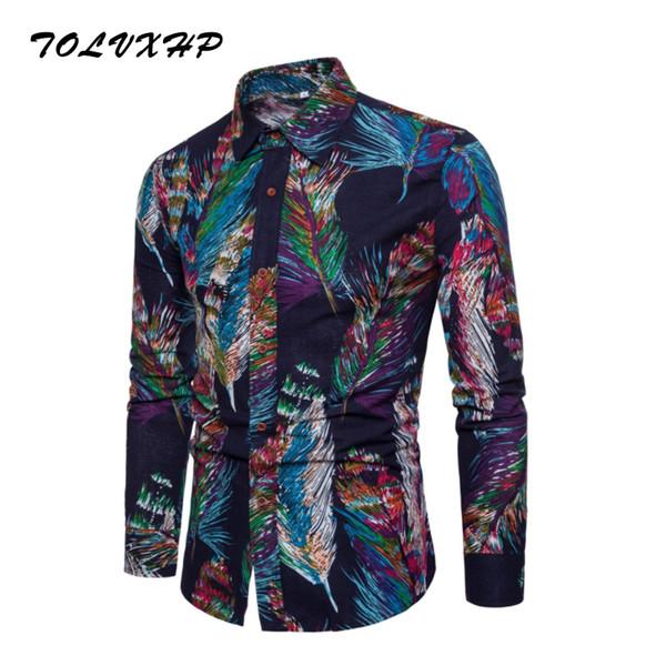 New Brand-Clothing 2018 Fashion Shirt Male All-Match Dress Shirts Slim Fit Turn-Down Men Long Sleeve Mens Linen Hawaiian Shirt