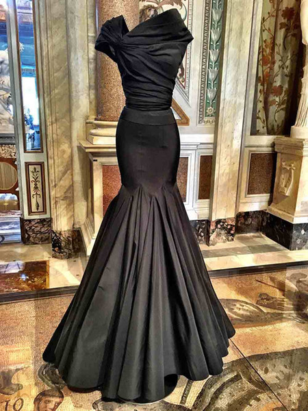 2018 Sexy High Neck Cheap Prom Dresses Mermaid Black Cap Sleeves Plus Size Floor Length Long Formal Prom Dress Evening Gowns