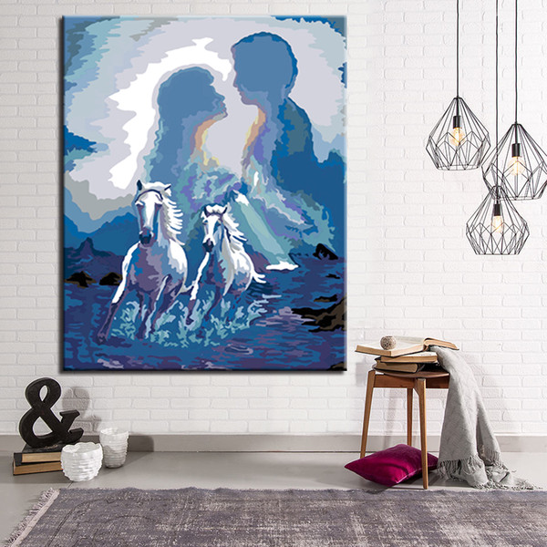 Modular Home Decorative Wall Art Picture White Horse Running DIY Painting Kits Coloring Paint By Numbers Framework Modern Gift