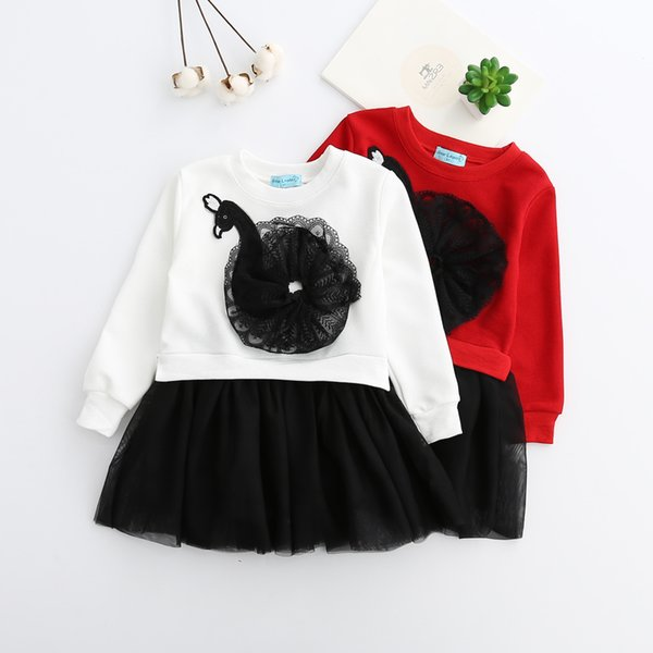 cute girl lace dress swan decoration solid lovely princess dress for 3-7years girls kids children Summer outerwear dresses