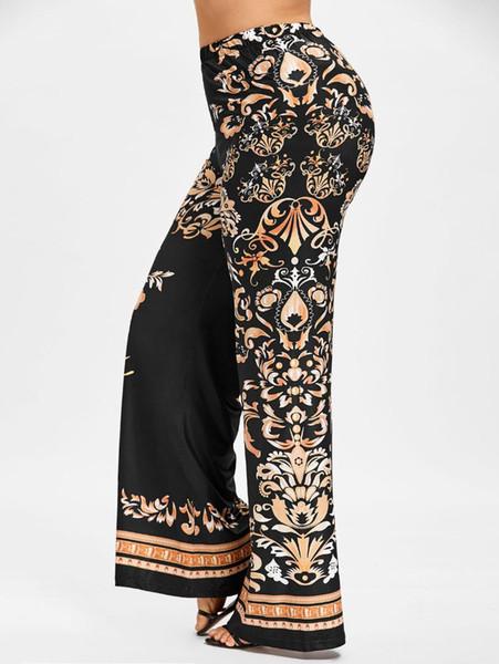Wipalo Artı Boyutu 5XL Barok Baskı Palazzo Pantolon Kadın Nedensel Overlength Yüksek Elastik Bel Geniş Bacak Pantolon Kadın Pantolon