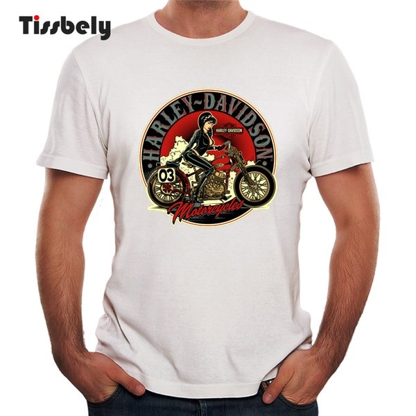 Tissbely Vintage T Shirts Motocycle Graphic Tees Men Short Sleeved Round Neck Cool Tops New Style Tops Summer