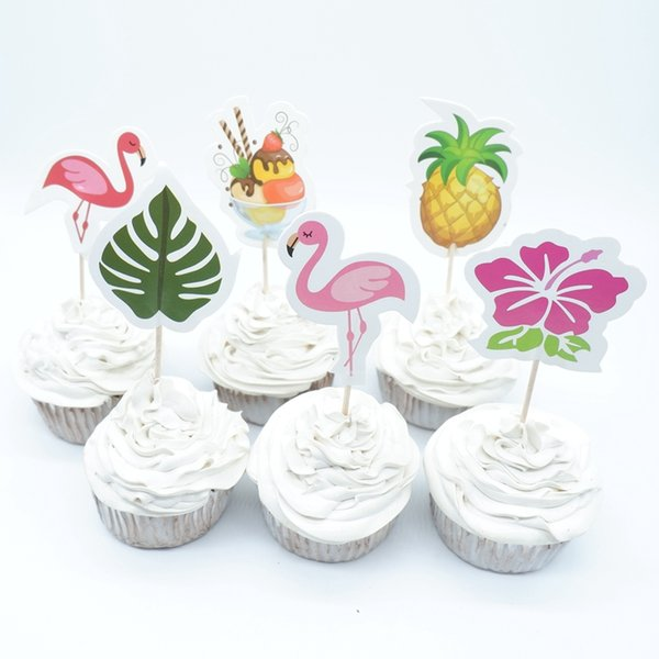 720pcs Flamingo Cupcake Toppers Birthday Party Decor Kids Cake Topper Happy Birthday Cupcake Toppers Birthday Party Supplies