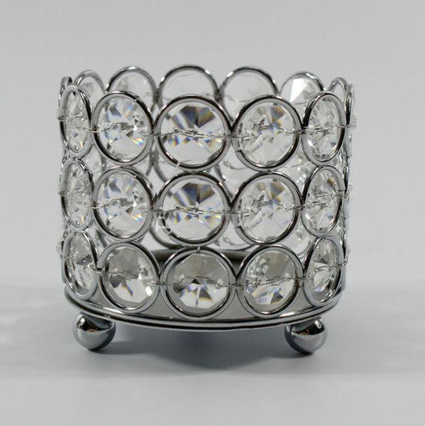 50pcs/lot D8cm cylinder shape crystal beaded tea-light votive candle holders for event wedding decoration