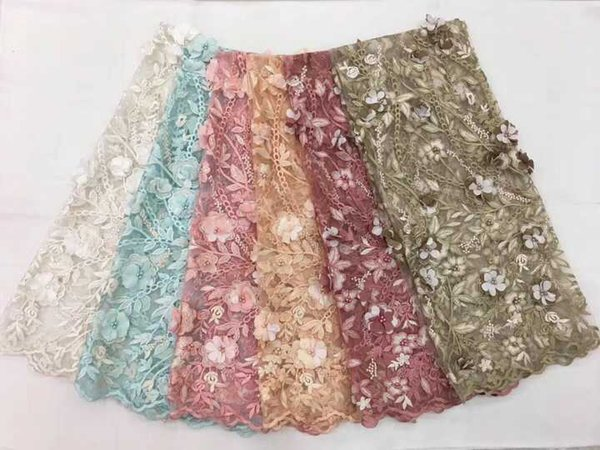 Fashion Handmade Wedding Lace, Beaded Applique French Lace Fabric, 3D Flower Embroidered Lace Material For Party Dress